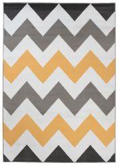 Maya Teppich Kurzflor Grau Weiß Gelb Modern Geometrisch Zig Zag