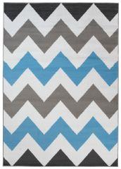 MAYA Vloerkleed Tapijt Grijs Wit Blauw Zigzag Praktisch Design