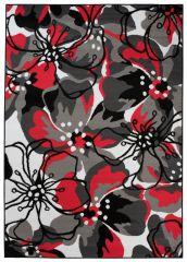 MAYA Vloerkleed Tapijt Grijs Rood Donkergrijs Abstract Bloemen Design