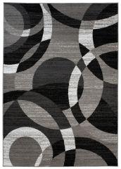 MAYA Area Rug Modern Short Pile Geometric Circle Grey Black