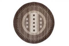 SARI Teppich Rund Braun Beige Modern Meliert Streifen Design