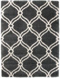 HIMALAYA Shaggy Teppich Hochflor Marokkanisch Gitter Grau