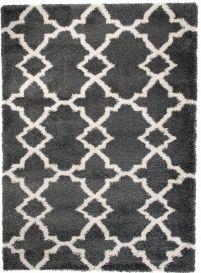 HIMALAYA Shaggy Teppich Hochflor Gitter Marokkanisch Grau
