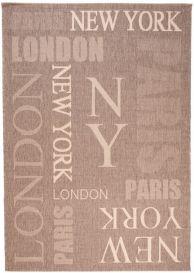 FLOORLUX Teppich Sisal Flachgewebe Modern Braun Beige Schrift