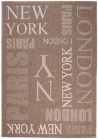 FLOORLUX Teppich Sisal Flachgewebe Modern Braun Schrift Design