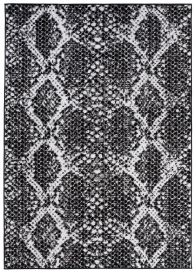 DREAM Modern Area Rug Short Pile Snake Print Black Grey