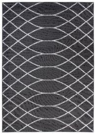 Bali Teppich Kurzflor Modern Dunkelgrau Weiß Wellen