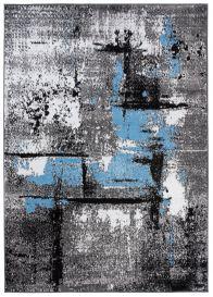 MAYA Modern Area Rug Contemporary Flecked Grey Blue Durable