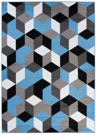 MAYA Modern Area Rug Geometric Blue Grey Durable Carpet