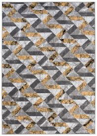 MAYA Modern Area Rug Abstract Light Grey Yellow Durable Carpet