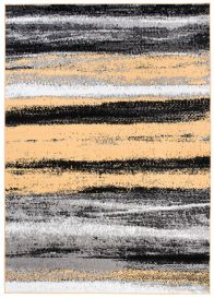 MAYA Modern Area Rug Flecked Stripes Grey Yellow Durable