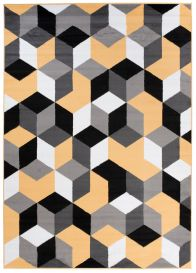 Maya Teppich Kurzflor Modern Grau Creme Gelb Schwarz Geometrisch
