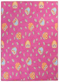 NINO Area Rug Children Room Bedroom Play Mat Happy Owl Pink
