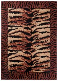 DREAM Modern Area Rug Tiger Animal Print Safari Brown Beige