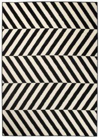 DREAM Teppich Modern Kurzflor Schwarz Weiß Geometrisch Streifen
