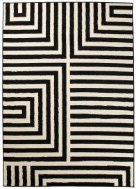 DREAM Teppich Kurzflor Schwarz Weiß Modern Streifen Design