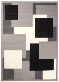 DREAM Teppich Modern Kurzflor Grau Weiß Schwarz Vierecke