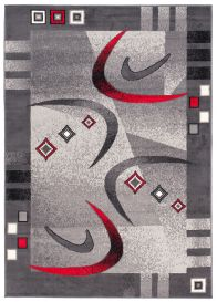 DREAM Teppich Kurzflor Modern Grau Creme Rot Bumerang Design