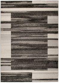 SARI Teppich Kurzflor Modern Meliert Beige Creme Schwarz Streifen