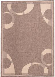 FLOORLUX Teppich Flachgewebe Sisal Braun Modern Creme Kreise