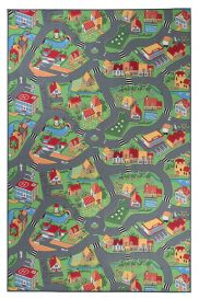 NINO Tapis Moderne Ville Routes Gris Vert Orange Bleu Jeu Doux