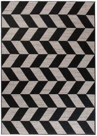 FLOORLUX Tapis Moderne Motif Chevron Noir Argent Résistant Sisal