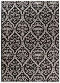 FLOORLUX Tapis Moderne Feuilles Noir Gris Résistant Sisal
