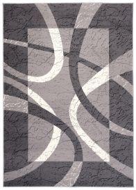 DREAM Teppich Kurzflor Modern Grau Creme Streifen Design Meliert