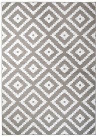 Fire Teppich Kurzflor Modern Marokkanisch Karo Grau Weiß
