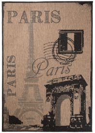FLOORLUX Teppich Flachgewebe Sisal Braun Schwarz Schrift Paris