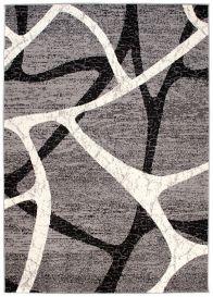 DREAM Kurzflor Teppich Modern Ecru Grau Meliert Streifen Design