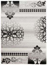 TANGO Vintage Area Rug Short Pile Ornamental Floral Grey Black