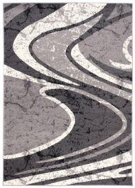 DREAM Teppich Kurzflor Modern Grau Creme Wellen Design Meliert