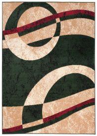 DREAM Teppich Kurzflor Modern Beige Grün Rot Kreise Wellen