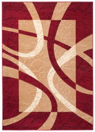 DREAM Vloerkleed Korte Pool Rood Creme Lijnen Design Duurzaam