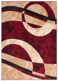 DREAM Teppich Kurzflor Modern Rot Creme Meliert Kreise Wellen