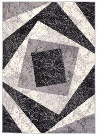 DREAM Teppich Modern Kurzflor Creme Grau Vierecke Meliert
