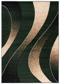 DREAM Teppich Modern Wellen Design Grün Creme Meliert
