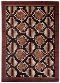 DREAM Tapis Moderne Animal Sauvage Serpent Marron Noir Fin