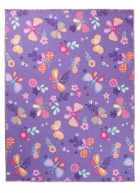 NINO Tapis Moderne Papillons Fleurs Violet Rose Orange Bleu Jeu Doux