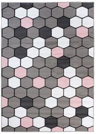 PINKY Vloerkleed Bruin Creme Roze Tiener Modern Geometrisch