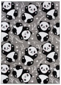 Pinky Teppich Kurzflor Grau Schwarz Panda Design Kinderteppich