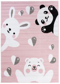 Pinky Teppich Kurzflor Rosa Weiß Panda Bär Hase Tiere