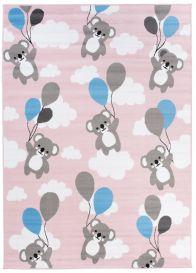 Pinky Teppich Kurzflor Pink Weiß Bär Teddy Design Kinderzimmer
