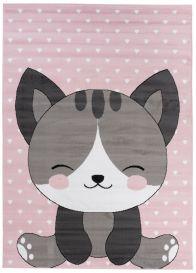 Pinky Teppich Kurzflor Pink Grau Kinderteppich Katze Kinderzimmer