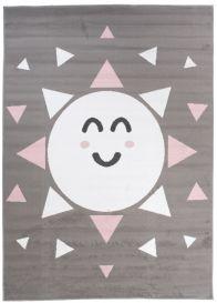 Pinky Teppich Kurzflor Grau Weiß Pink Sonne Dreiecke Kinderzimmer