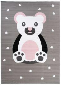 Pinky Teppich Kurzflor Grau Weiß Pink Bär Herzen Kinderzimmer