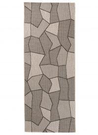 FLOORLUX Tapis de Passage Moderne Géométrique Argent Noir