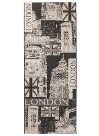 FLOORLUX Tapis de Passage Moderne London Argent Noir Résistant