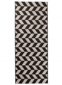 FLOORLUX Tapis de Passage Moderne Herringbone Argent Noir